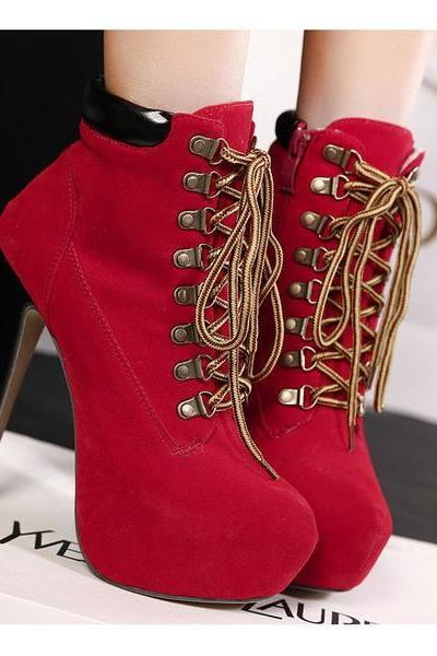 Round Toe Lace Up Ankle Length Stiletto High Heels Short Martin Boots