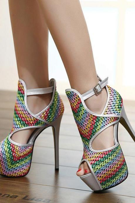 Colorful Cut Out Platform Ankle Wrap Supper Sitletto High Heels Sandals