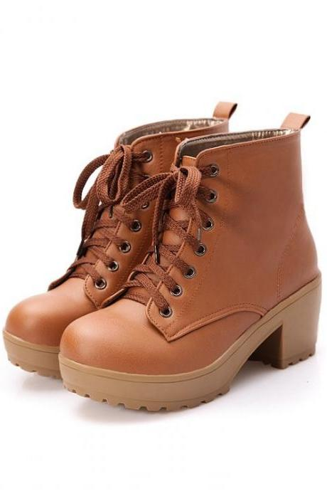 British Round Toe Lace Up Low Chunky Heels Short Boots