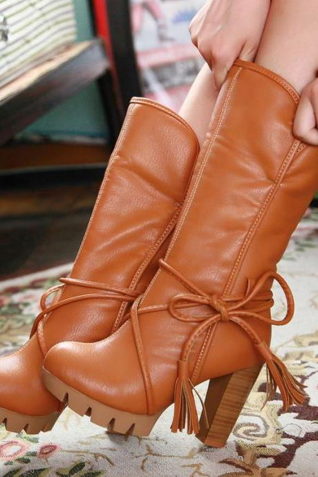 Straps Tassels Curled Edge High Chunky Heels Short Boots