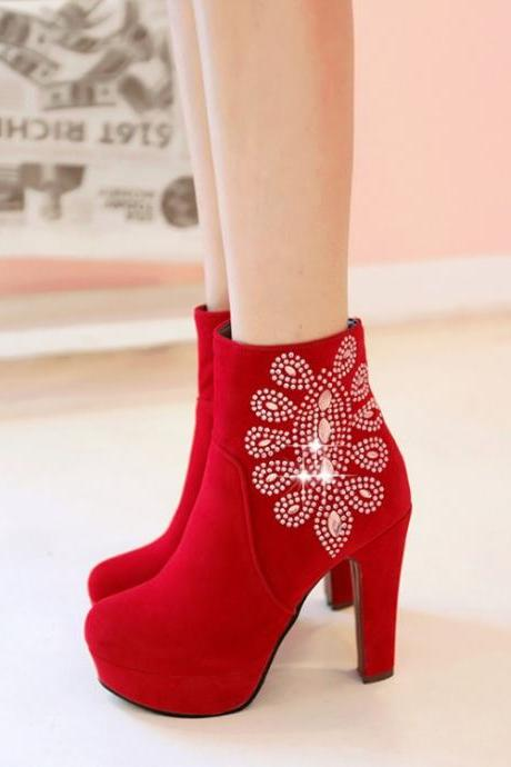 Crystal Shinning Round Toe Platform Stiletto High Heels Short Boots