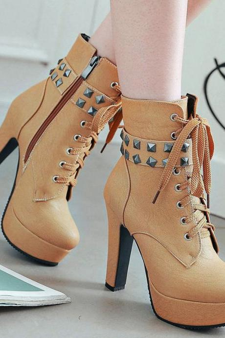 Rivets Lace Up Round Toe High Heels Platform Short Martin Boots