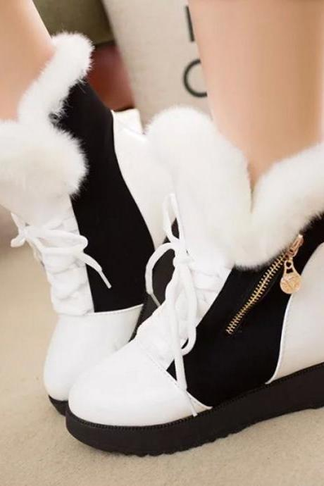 Side Zipper Faux Fur Patchwork Lace Up Flat Short Boots