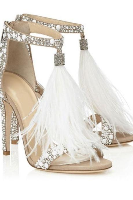 Open-Toe Beaded Ankle Strap Stilettos, High Heels with Feather Detailing