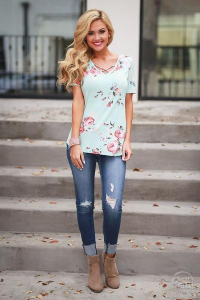 Flower Print Scoop Short Sleeves T-shirt