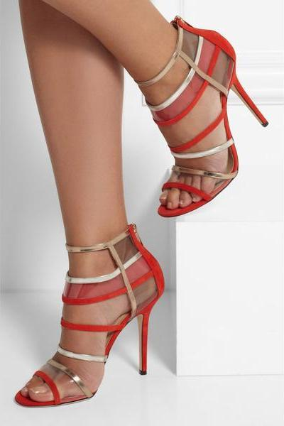 PU Patchwork Stiletto Heel Peep-toe Ankle Strap Sandals