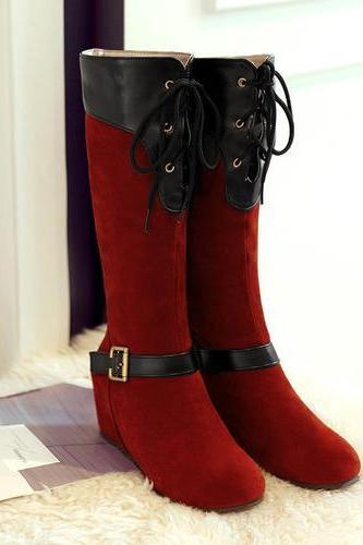 Color Block Round Toe Inside Heel Long Boots