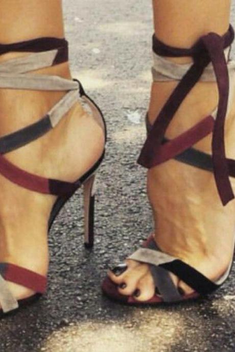 Ankle Straps Wrap Peep Toe Stiletto High Heels Sandals