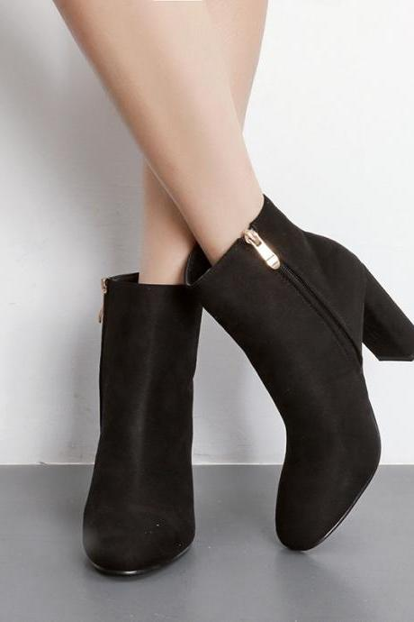 Faux Suede Pointed-Toe Chunky Heel Ankle Boots Featuring Side Zipper