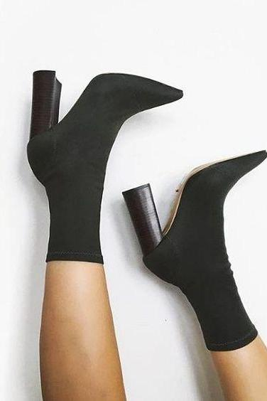 Faux Suede Pointed-Toe Chunky Heel Mid-Calf Sock Boots