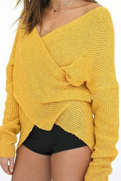 Cross V-neck Loose Irregular Pullover Sweater