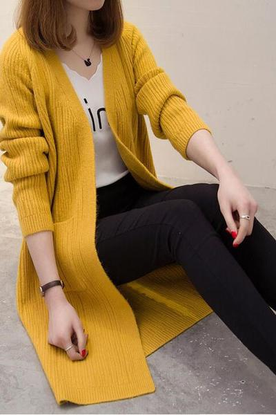 Candy Color Pockets Long Open Knitwear Cardigan