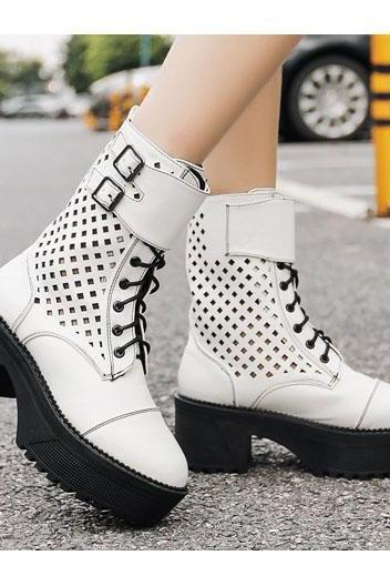 Hollow Out Lace Up Round Toe Platform Chunky Heel Short Boots