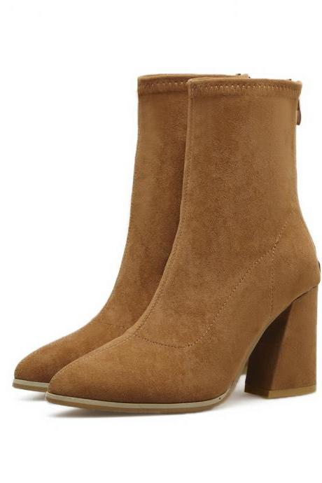 Faux Suede Pointed-Toe Chunky Heel Mid-Calf Boots Featuring Back Zipper
