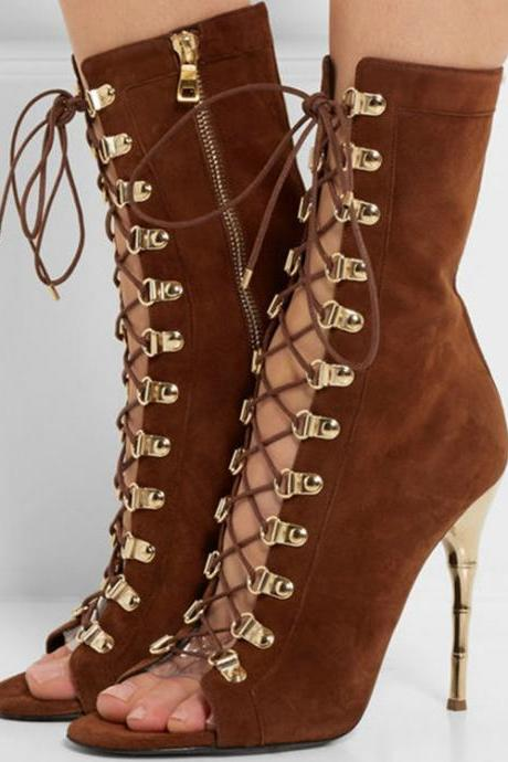 Faux Suede Lace-Up Peep-Toe High Heel Mid-Calf Boots