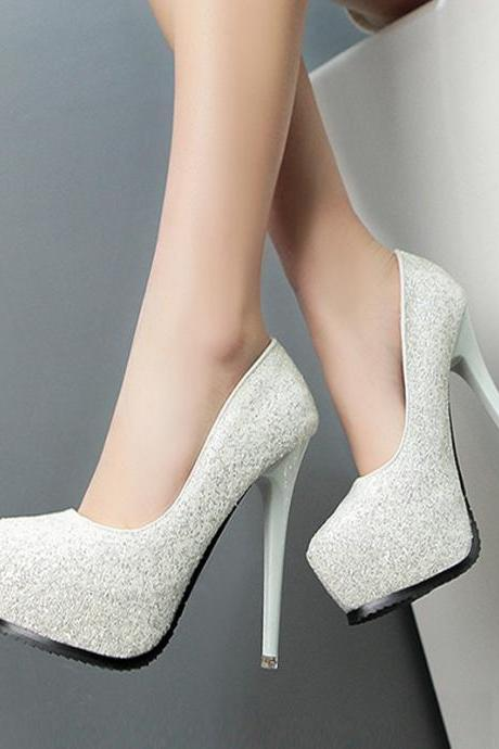 Glitter Rounded-Toe Platform High Heel Stilettos