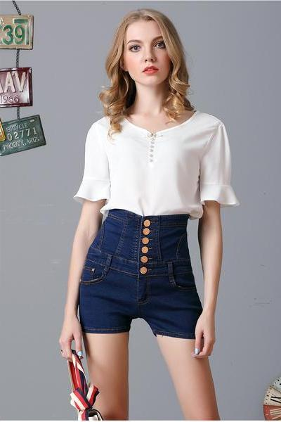 Plus Size High Waist Pure Color Bandage denim Slim Shorts