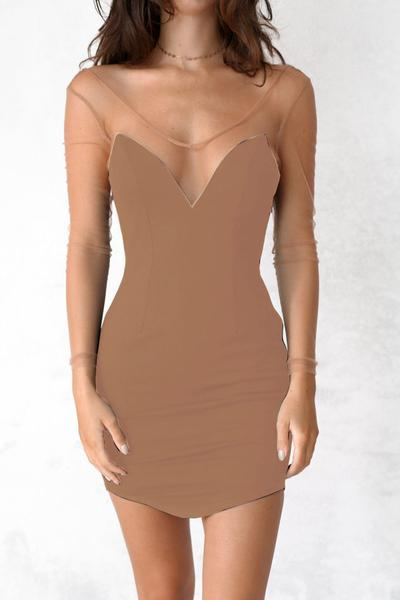 Transparent Mesh Patchwork Pure Color Short Bodycon Dress