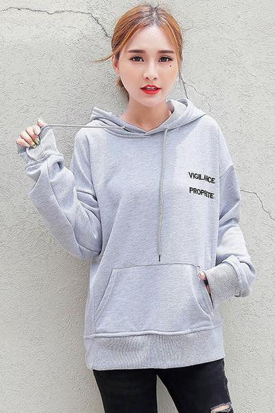 Solid Color Letter Print Pocket Loose Hoodie