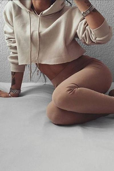 Solid Color Drawstring Loose Crop Top Short Hoodie