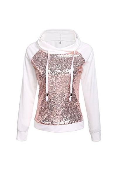 White Sequin Drawstring Long Sleeve Hoodie