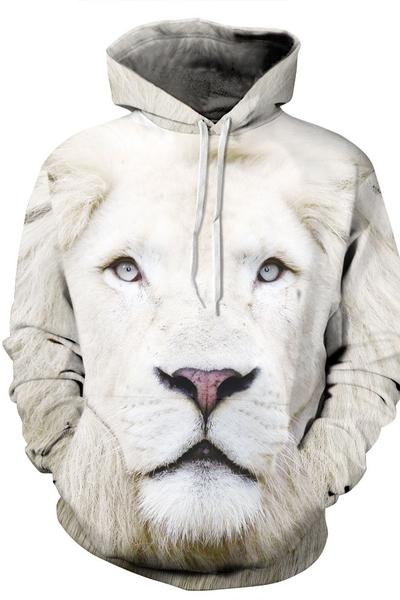3D Lion Print Drawstring Pocket Casual Hoodie