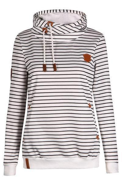 Stripes High Neck Drawstring Pocket Slim Hoodie