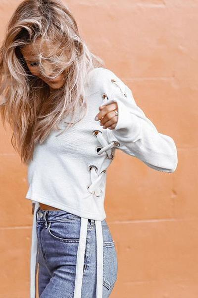 Lace-Up Plunge V Long Cuffed Sleeves Cropped Sweatshirt