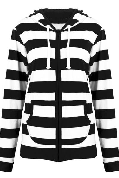 Stripes Drawstring Pockets Slim Hoodie