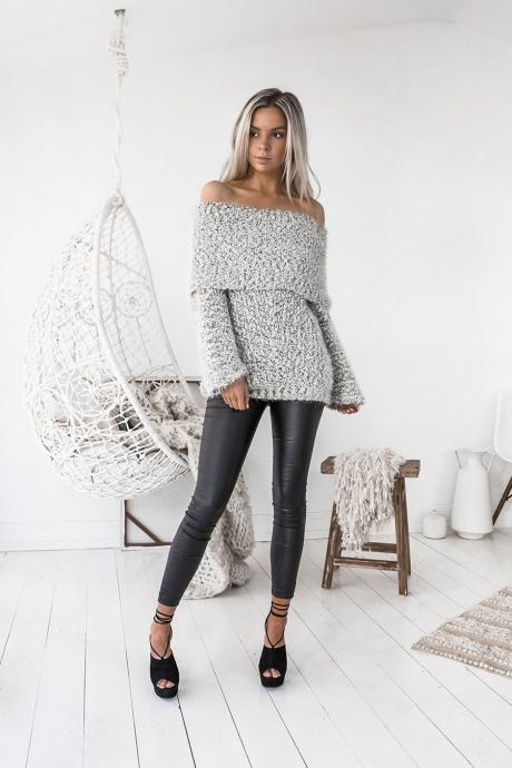 Off Shoulder Long Sleeves Slim Long Sweater