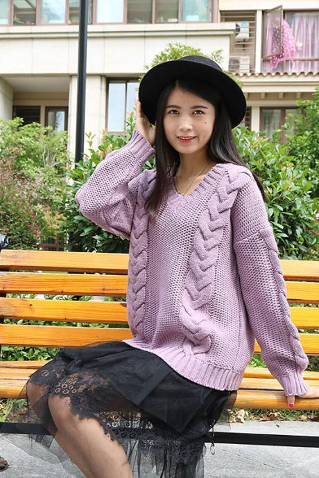 V-neck Cable Knit Loose Pure Color Sweater