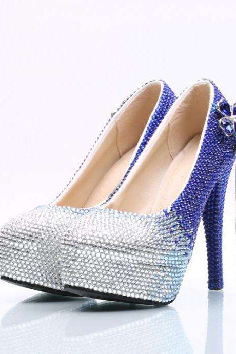 Gradient Blue Crystal Rhinestone Platform Super Stiletto High Heels Party Shoes