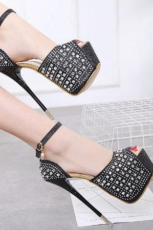 PU Rhinestone Stiletto Heel Round Toe High Heels