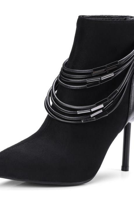 Suede Zipper Pure color Metal Stiletto Heel Pointed Toe High Heels