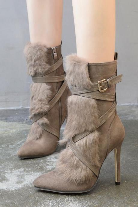Pointed Toe High Heel Faux Fur Embellished Strappy Suede Boots with Side Zipper