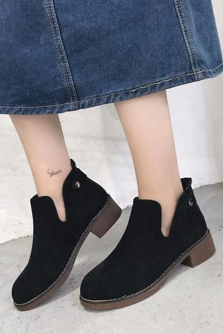 Suede Pure Color Chunky Heel Round Toe Short Boots