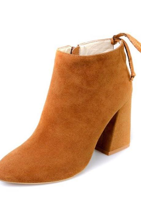 Suede Pure Color Chunky Heel Pionted Toe Zipper Short Boots