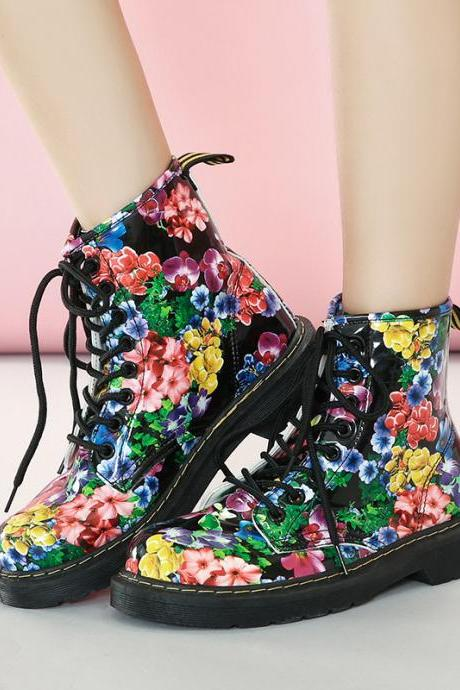 PU Flower Print Chunky Heel Round Toe Lace-up Short Boots