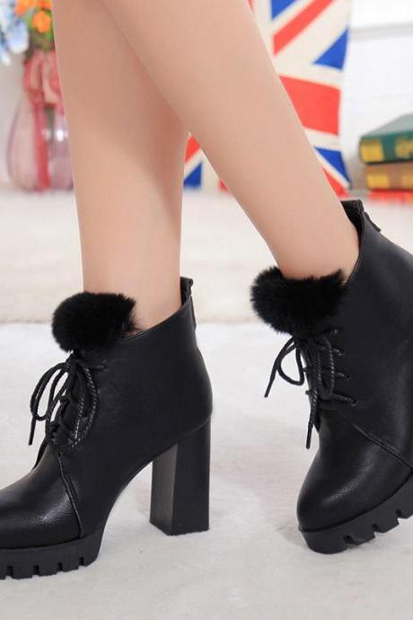 PU Chunky Heel Round Toe Lace-up Pure Color Short Boots