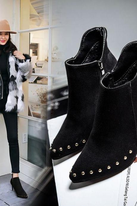 Faux Suede Pointed-Toe High Heel Ankle Boots Featuring Rivets Trimmed