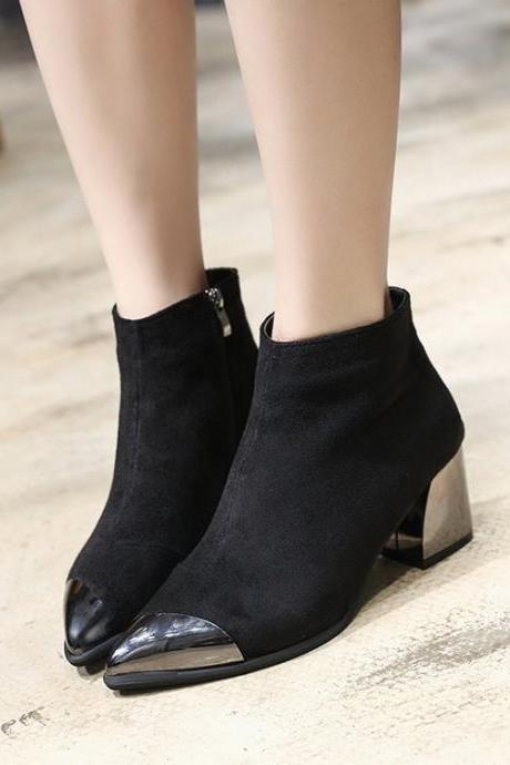 Suede Patchwork Chunky Heel Pointed Toe Platform Boots