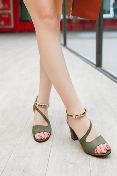 Suede Pure Color Chunky Heel Peep-toe High Heels