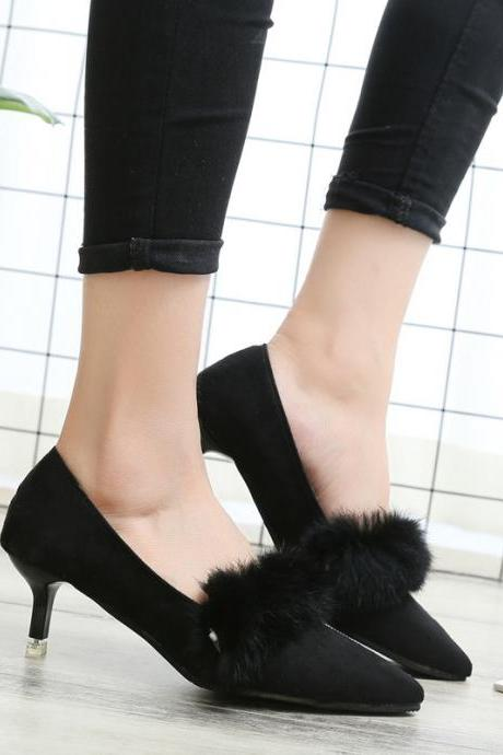 Suede Pure color Chunky Heel Round Toe High Heels