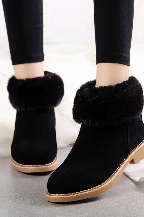 Pure Color PU Chunky Heel Round Toe Short Boots