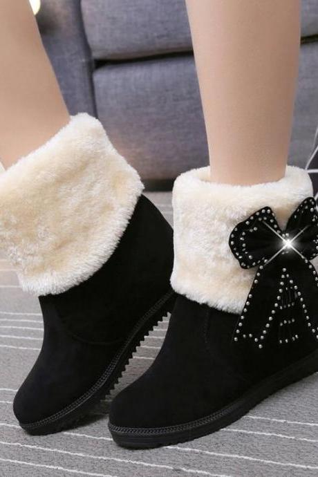 Pure Color Suede Slope Heel Round Toe Short Boots