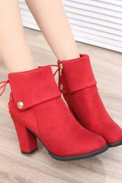 Chunky Heel Suede Pure Color Round Toe Short Boots