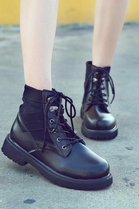 PU Pure Color Lace-Up Round Toe Chunky Heel Short Boots