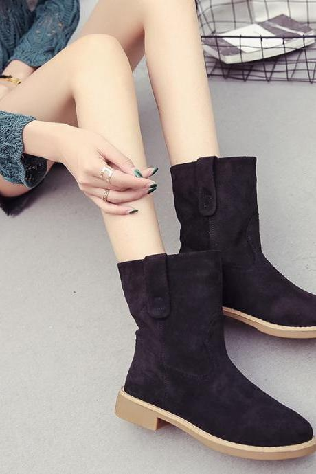 Scrub Pure color Flat Round Toe Boots