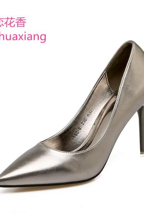 Metallic Pointed-Toe High Heel Stilettos