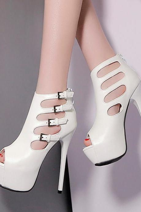 Pure Color PU Stiletto Heel Peep-toe High Heels